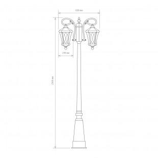 Virgo F/2 черное золото уличный двухрожковый светильник на столбе GLXT-1450F/2
