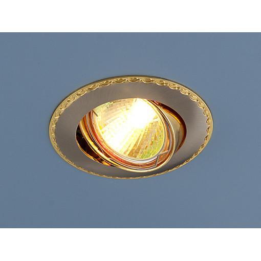 Точечный светильник для натяжных, подвесных потолков 635 MR16 SNG сатин никель/золото