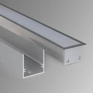 Линейный светодиодный встраиваемый светильник 103см 16Вт 3000К матовое серебро LS-03-103-16-3000-MS