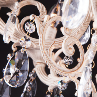 Люстра с хрусталем 3345/6 белый с золотом / прозрачный хрусталь