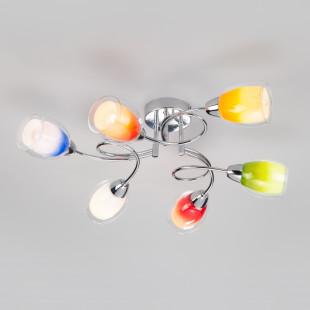 Люстра с цветными плафонами 2266/6 хром