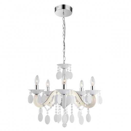 Светильник подвесной, арт. 63132-5, E14, 5x40W, белый, хром