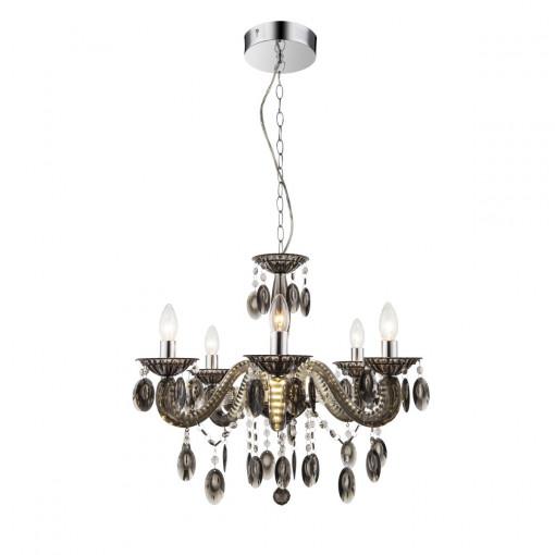 Светильник подвесной, арт. 63133-5, E14, 5x40W, черный, хром
