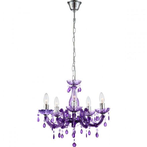 Светильник подвесной, арт. 63115-5, E14, 5x40W, фиолетовый