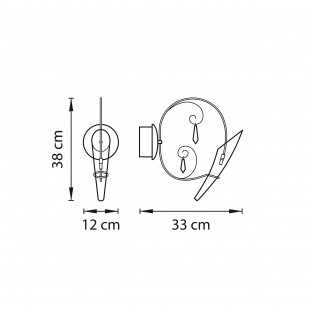 755614 (MB62613-1А) Бра SCARABEO 1х35W G4 12V ХРОМ хрусталь+стекло (в комплекте)