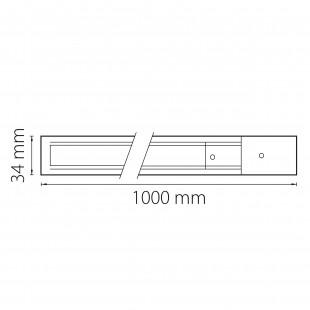 502018 Трек двухконтактный однофазный BARRA,длина1м, ЧЕРНЫЙ МАТОВЫЙ (питание и заглушка в комплекте)