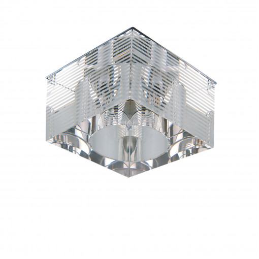 004055*** Светильник QUBE LT LINE G4 ХРОМ ПОЛОСАТЫЙ/ПРОЗРАЧНЫЙ (в комплекте)