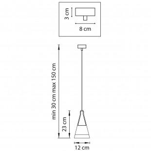 757019 (MD7938-1A ) Люстра CONE 1х40W GU10 ХРОМ/ПРОЗРАЧНО-МАТОВЫЙ (в комплекте)