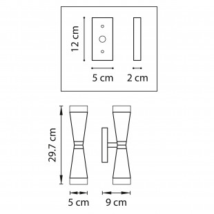 807624 (MB1220-2W) Бра PUNTO 2х10W G9 (Led) ХРОМ (в комплекте)
