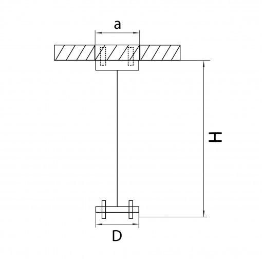 590057 Подвесное крепление RULLO для светильников 2144X7 , длина 1,5м, ЧЕРНЫЙ