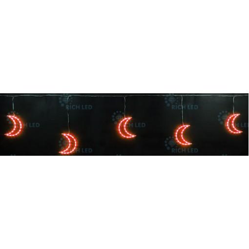 Светодиодные подвески Луны 3*0.5 м, КРАСНЫЙ, прозрачный провод