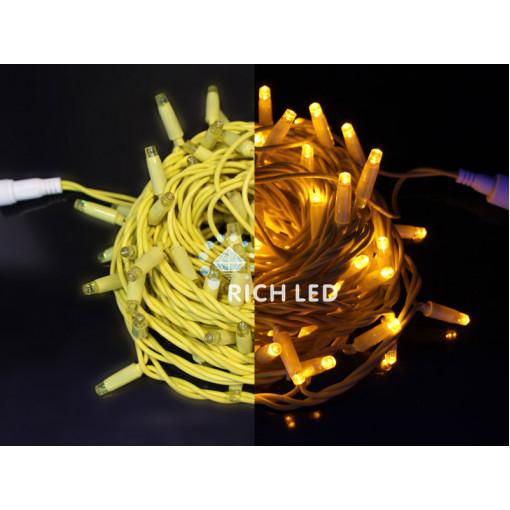 Светодиодная гирлянда 10 м, 24В, ЖЕЛТЫЙ, желтая резина