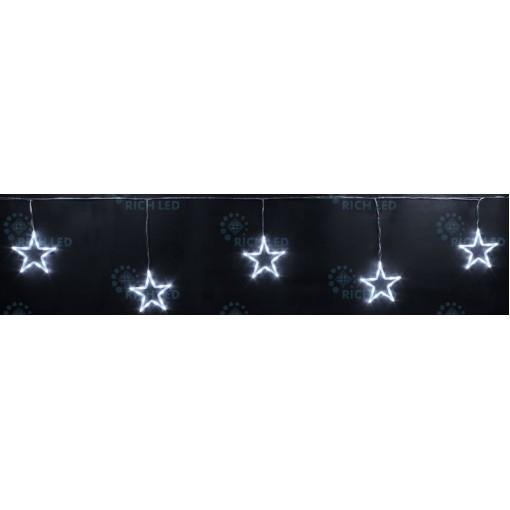 Светодиодные подвески Звезды 3*0.5 м, БЕЛЫЙ, прозрачный провод