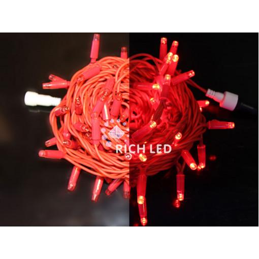 Светодиодная гирлянда 10 м, 24В, КРАСНЫЙ, красная резина