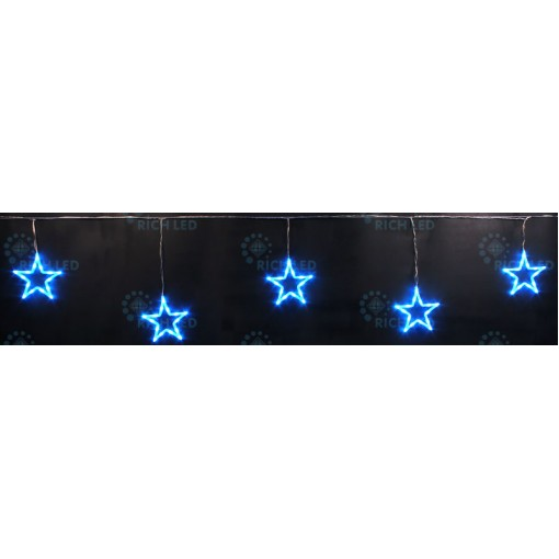 Светодиодные подвески Звезды 3*0.5 м, СИНИЙ, прозрачный провод