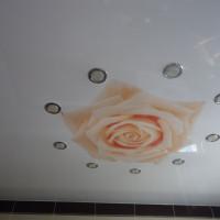 натяжной потолок с фото печатью роза