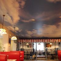 натяжной потолок в приемную с фото печатью небо