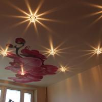 натяжной потолок с фото печатью цветок