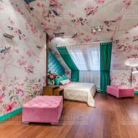 дизайнерский натяжной потолок сатин со спот подсветкой