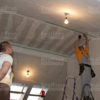 монтаж каркаса для установки натяжного тканевого потолка