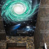 натяжной потолок с аэрографией звёздного неба
