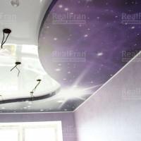 Двухуровневый натяжной потолок фотопечать Звёздное небо