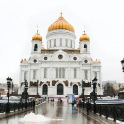 Установка натяжного потолка с фотопечатью в трапезной Храма Христа Спасителя