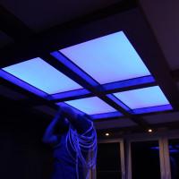 Натяжной потолок RGB фонарь фото